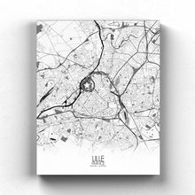 Load image into Gallery viewer, Mapospheres Lille Black and White full page design canvas city map
