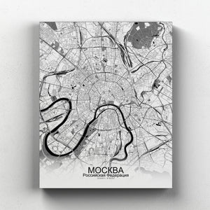 Mapospheres Moscow Black and White full page design canvas city map