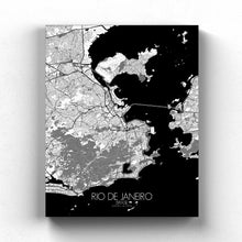 Load image into Gallery viewer, Mapospheres Rio de Janeiro Black and White full page design canvas city map