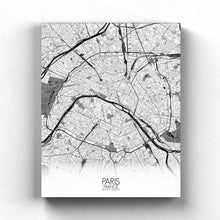 Load image into Gallery viewer, Mapospheres Paris Black and White full page design canvas city map