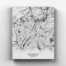 Load image into Gallery viewer, Mapospheres brussels Black and White full page design canvas city map