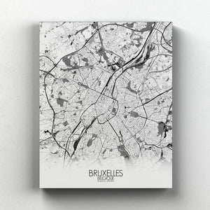 Mapospheres brussels Black and White full page design canvas city map
