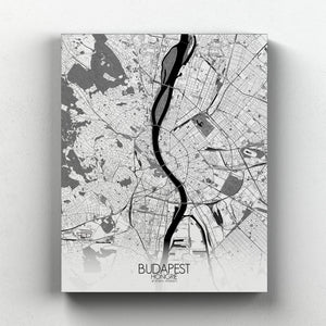 Mapospheres budapest Black and White full page design canvas city map