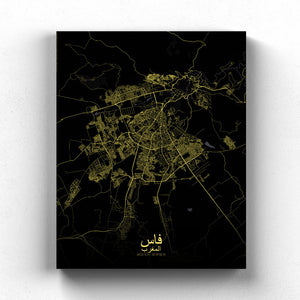 Mapospheres fez Night full page design canvas city map