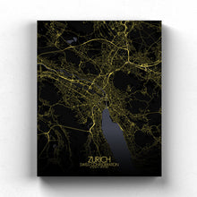 Load image into Gallery viewer, Mapospheres zurich Black and White full page design canvas city map