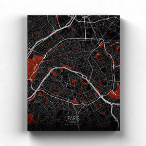 Mapospheres Paris Red dark round shape design canvas city map