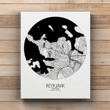 Load image into Gallery viewer, Mapospheres reykjavik Black and White round shape design canvas city map