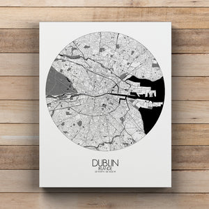 Mapospheres dublin Black and White round shape design canvas city map