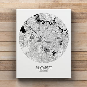 Mapospheres bucharest Black and White round shape design canvas city map