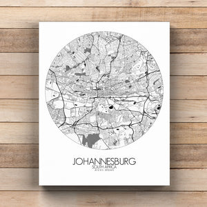 Mapospheres Johannesburg Black and White round shape design canvas city map