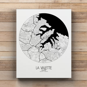 Mapospheres valletta Black and White round shape design canvas city map