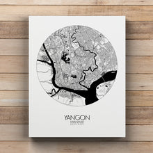 Load image into Gallery viewer, Mapospheres yangon Black and White round shape design canvas city map