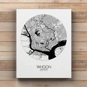 Mapospheres yangon Black and White round shape design canvas city map