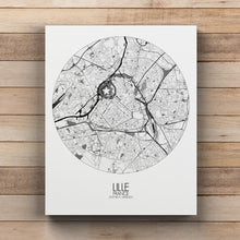Load image into Gallery viewer, Mapospheres Lille Black and White round shape design canvas city map