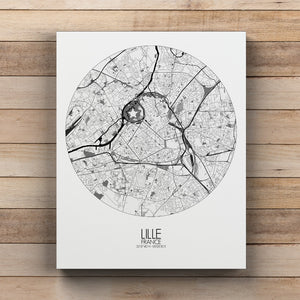 Mapospheres Lille Black and White round shape design canvas city map