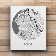 Load image into Gallery viewer, Mapospheres Nancy Black and White round shape design canvas city map