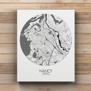 Mapospheres Nancy Black and White round shape design canvas city map