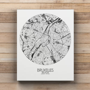 Mapospheres brussels Black and White round shape design canvas city map