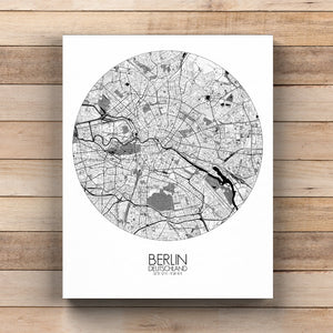 Mapospheres Montreal Black and White round shape design canvas city map
