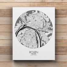 Load image into Gallery viewer, Mapospheres Rouen Black and White round shape design canvas city map