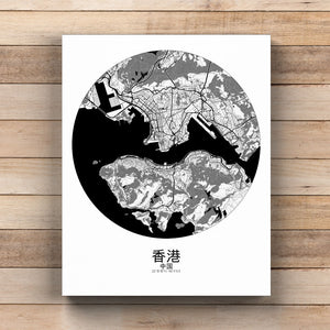 Mapospheres Hong Kong Black and White round shape design canvas city map