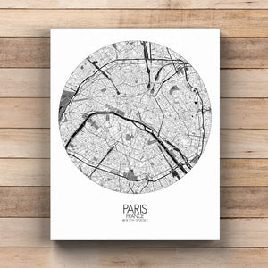 Mapospheres Paris Black and White  round shape design canvas city map