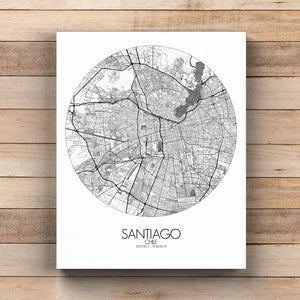 Mapospheres Santiago Black and White round shape design canvas city map