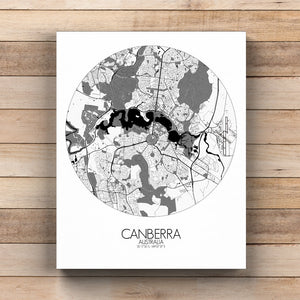 Mapospheres Canberra Black and White round shape design canvas city map