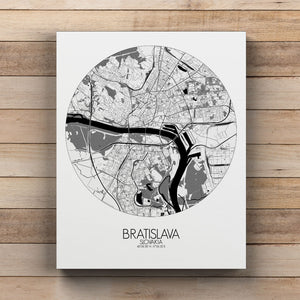 Mapospheres Bratislava Black and White round shape design canvas city map
