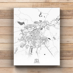 Mapospheres fez Black and White round shape design canvas city map