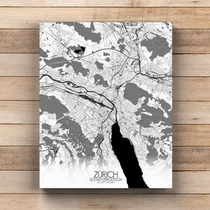 Mapospheres zurich Black and White round shape design canvas city map