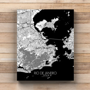 Mapospheres Rio de Janeiro Black and White round shape design canvas city map