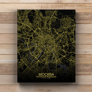 Mapospheres Moscow Night full page design canvas city map