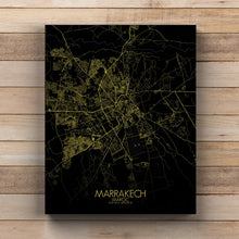 Load image into Gallery viewer, Mapospheres Marrakesh Night full page design canvas city map