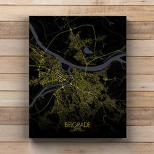 Load image into Gallery viewer, Mapospheres Belgrade Night full page design canvas city map