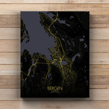 Load image into Gallery viewer, Mapospheres Bergen Night full page design canvas city map