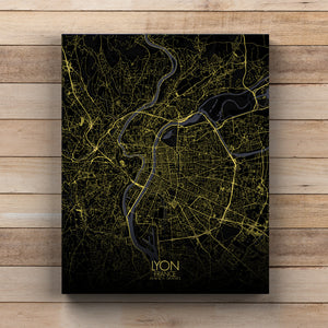 Mapospheres Lyon Black and White full page design canvas city map
