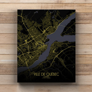 Mapospheres Quebec Night full page design canvas city map