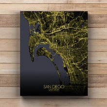 Load image into Gallery viewer, Mapospheres San Diego Night full page design canvas city map