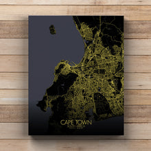 Load image into Gallery viewer, Mapospheres Cape Town Night full page design canvas city map