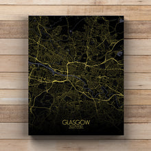 Load image into Gallery viewer, Mapospheres Glasgow Night full page design canvas city map