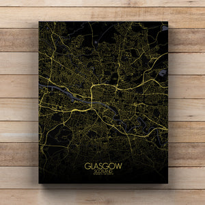 Mapospheres Glasgow Night full page design canvas city map