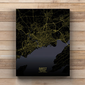 Mapospheres Brest Night full page design canvas city map