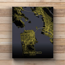 Load image into Gallery viewer, Mapospheres San Francisco Night full page design canvas city map