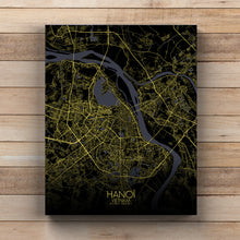 Load image into Gallery viewer, Mapospheres Hanoi Night full page design canvas city map