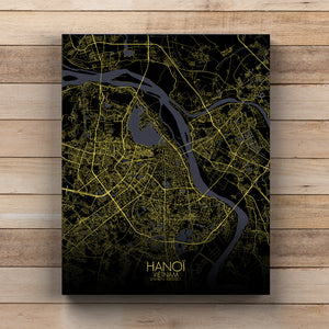Mapospheres Hanoi Night full page design canvas city map