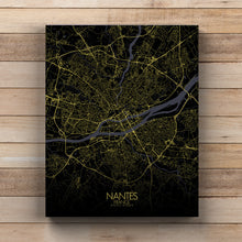 Load image into Gallery viewer, Mapospheres Nantes Night full page design canvas city map