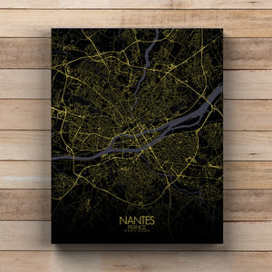 Mapospheres Nantes Night full page design canvas city map