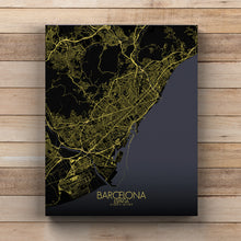 Load image into Gallery viewer, Mapospheres Barcelona Night full page design canvas city map
