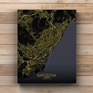 Mapospheres Barcelona Night full page design canvas city map